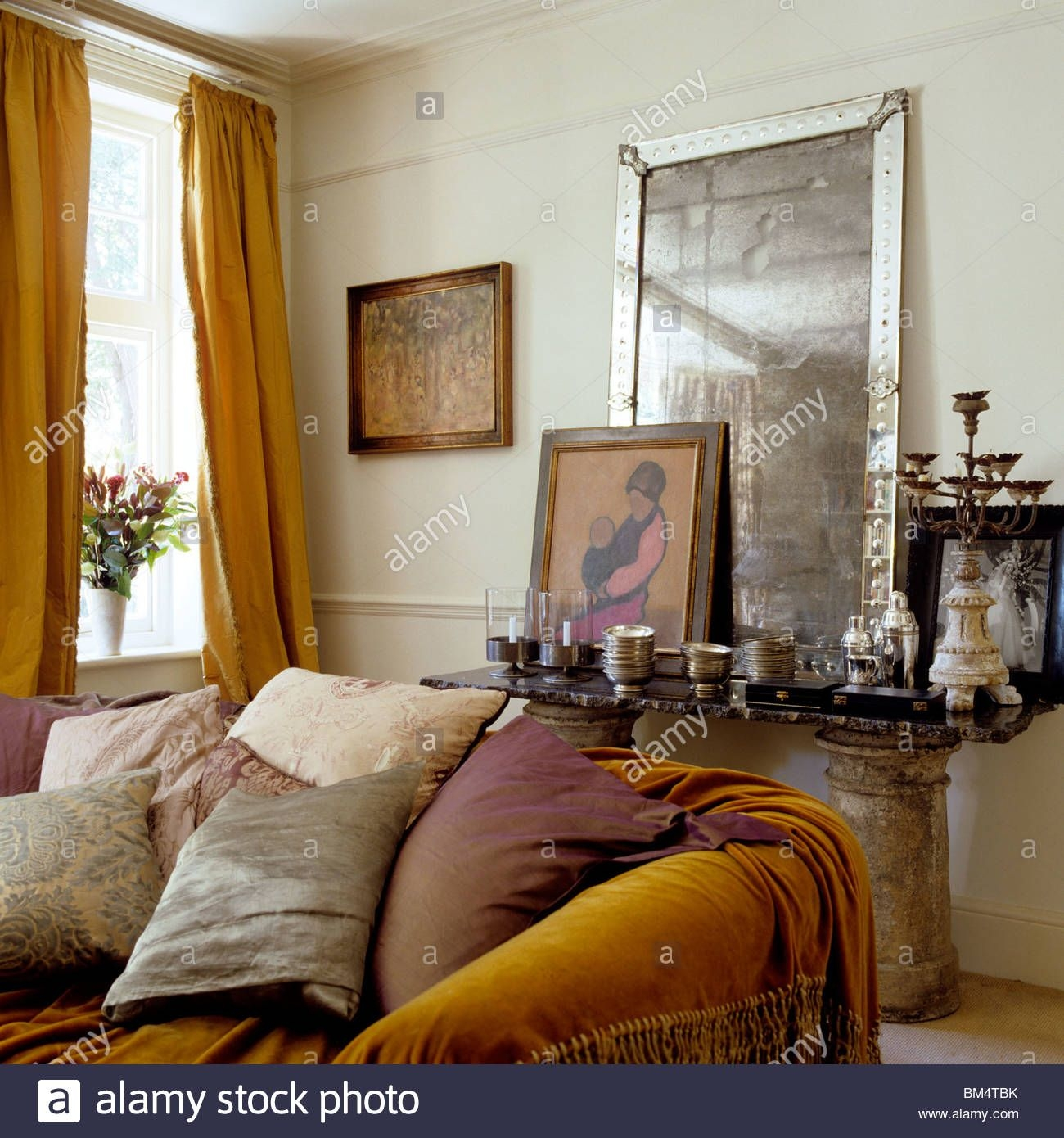 Furnished Sofa In Living Room With Antique Mirror Display Stock Photo 29610439  Alamy