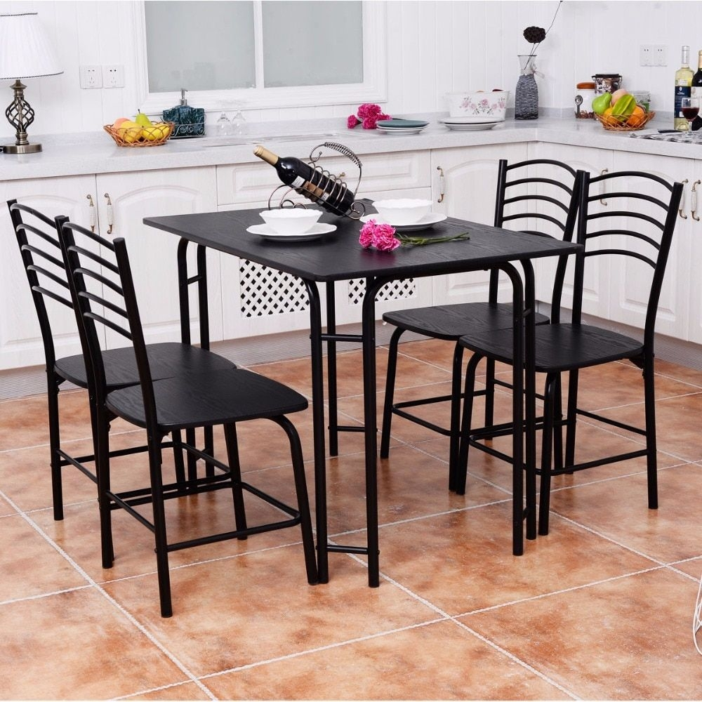 Goplus 5 Pcs Black Dining Room Set Modern Wooden Dining Table With 4 Dining Chairs Steel Frame