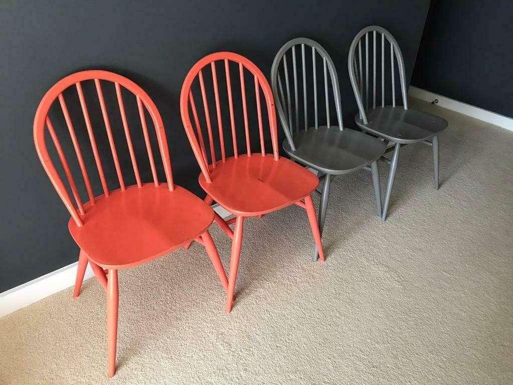 Grey And Coral Coloured Painted Timber Kitchen Dining Chairs  In Ottery St Mary Devon  Gumtree