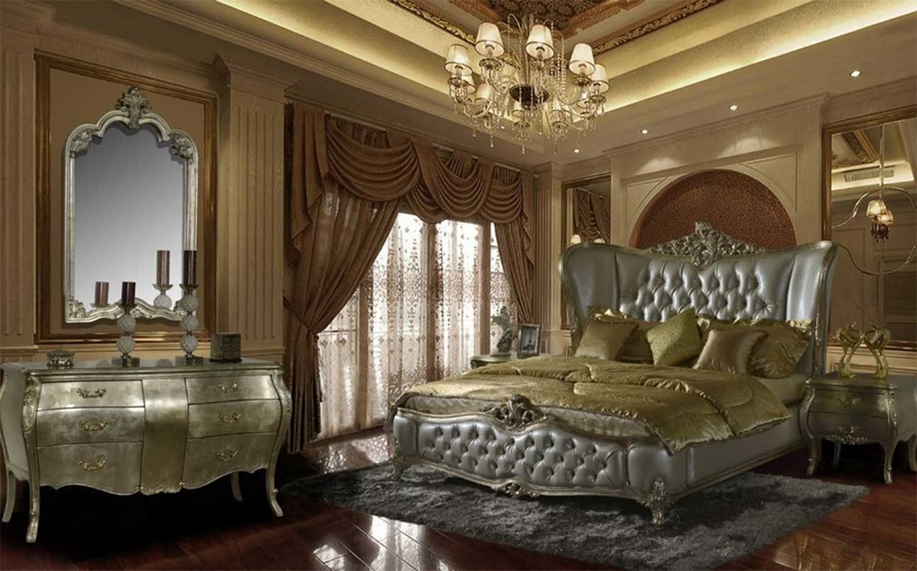 Hd 200 Homey Design Silver Finish Bedroom Set Victorian European Classic And Traditional Design