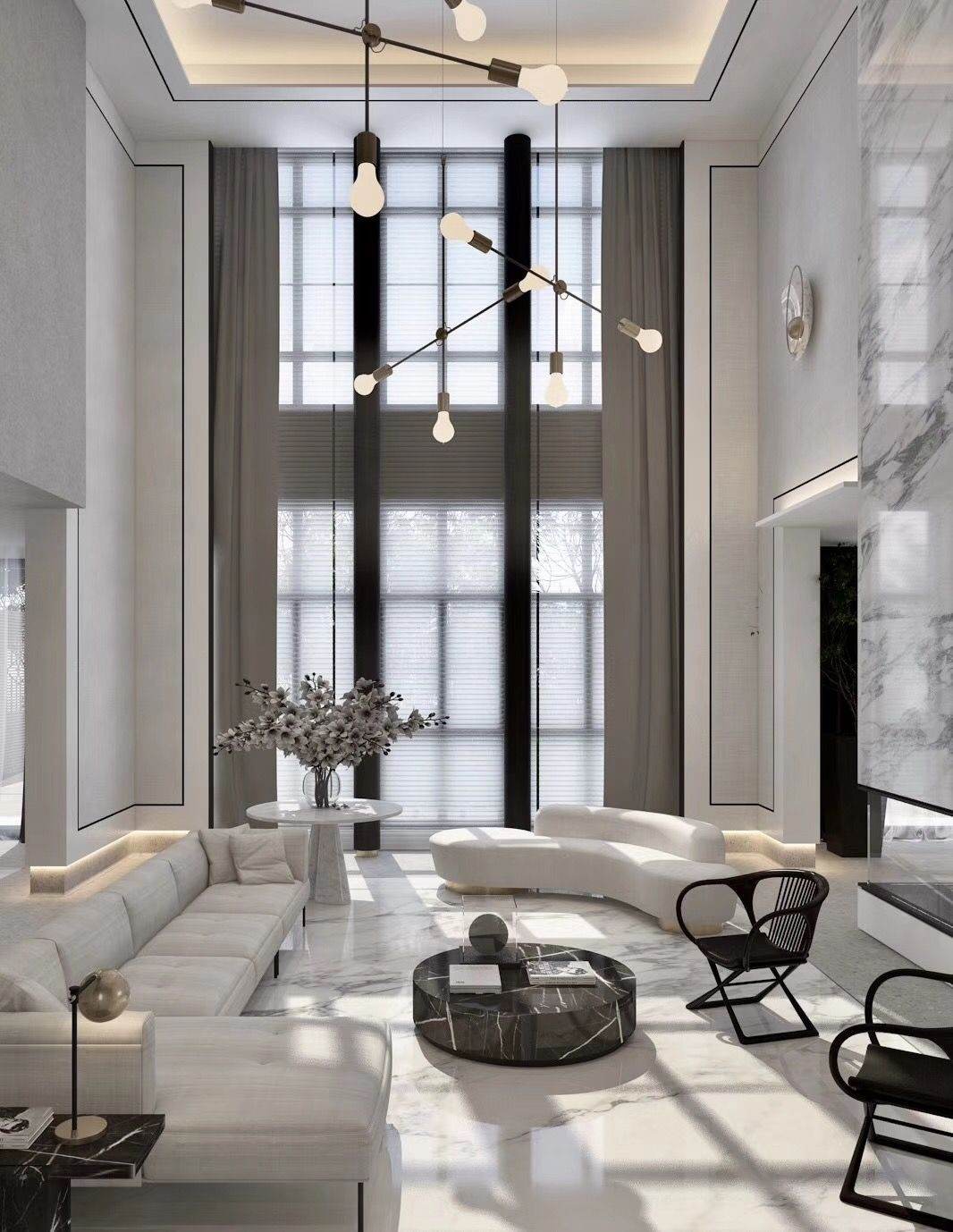 High Ceilings Black And White Interior  High Ceiling Living Room Luxury Living Room Living