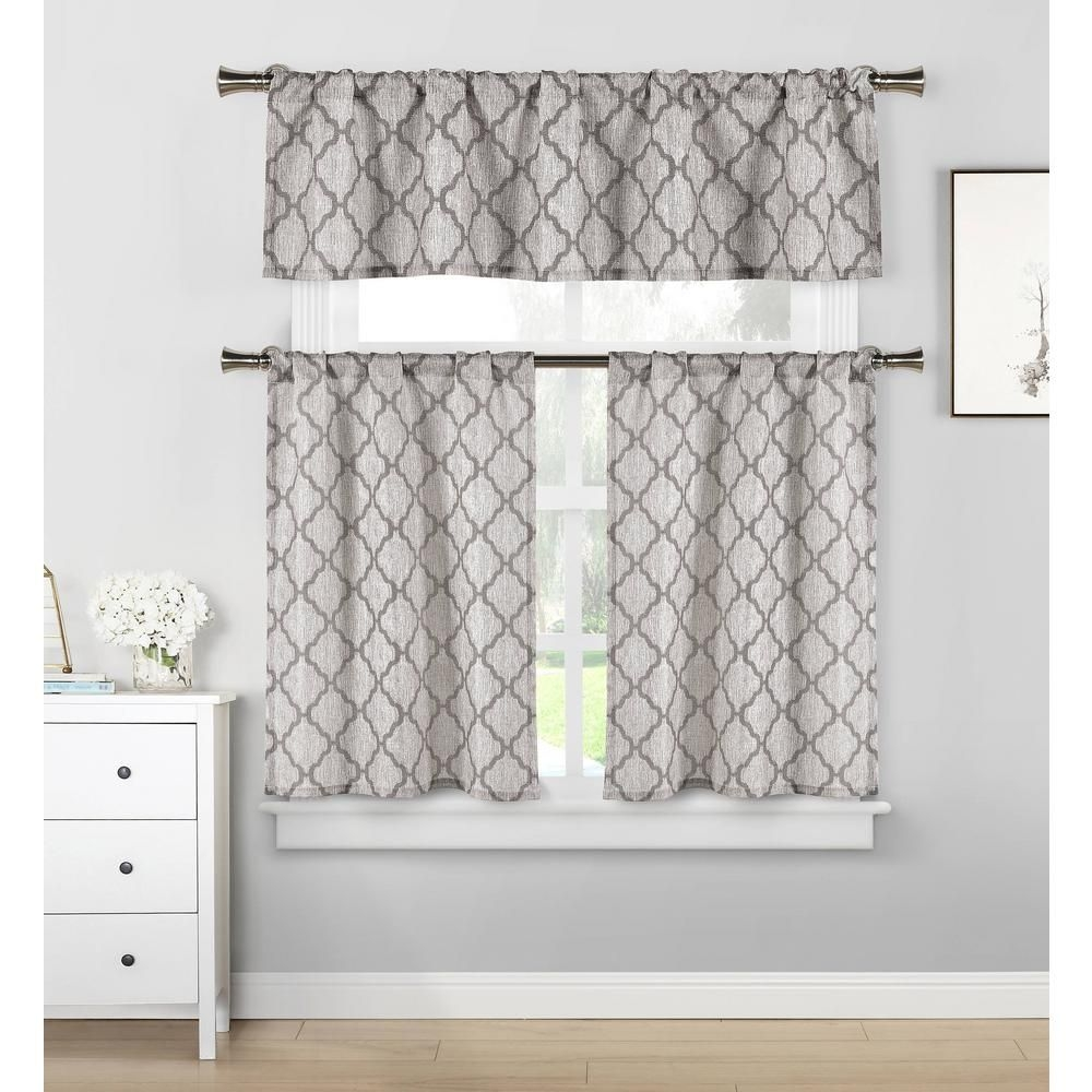 Home Maison Luke Grey Kitchen Curtain Set  58 In W X 15 In L 3Piecelukgy12 13167  The