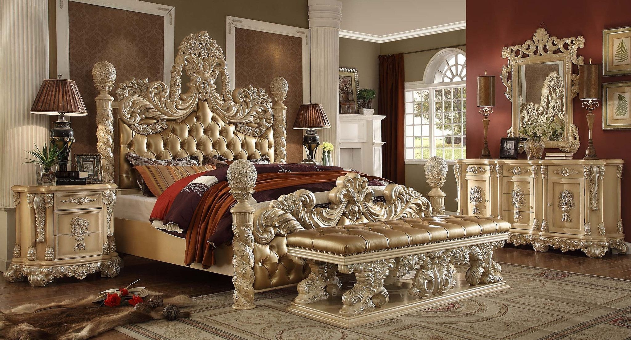 Homey Design Hd7266 Victorian Classic King Bedroom Set  California King Bedroom Sets Luxury