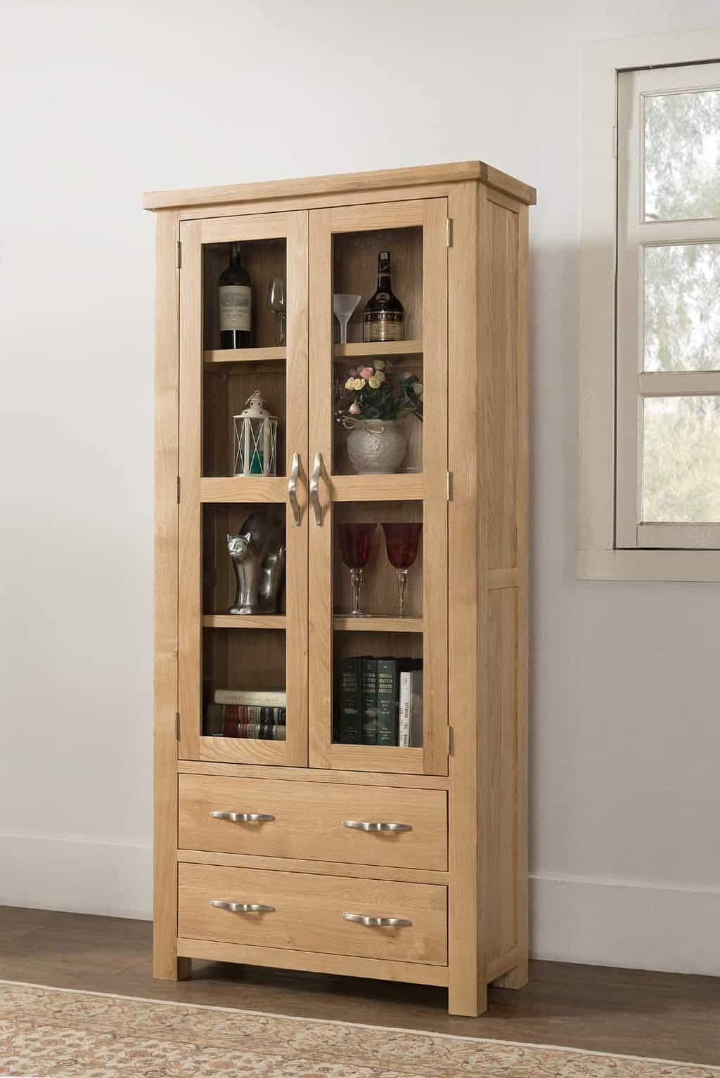 Hudson Solid Wood Chunky Oak Large Display Cabinet Cupboard – Msl Furniture