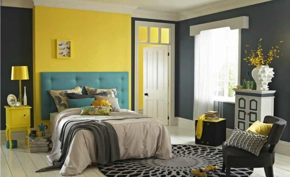 I Like How There'S A Yellow Accent Wall And Then The Headboard Is Another Color I Love Th