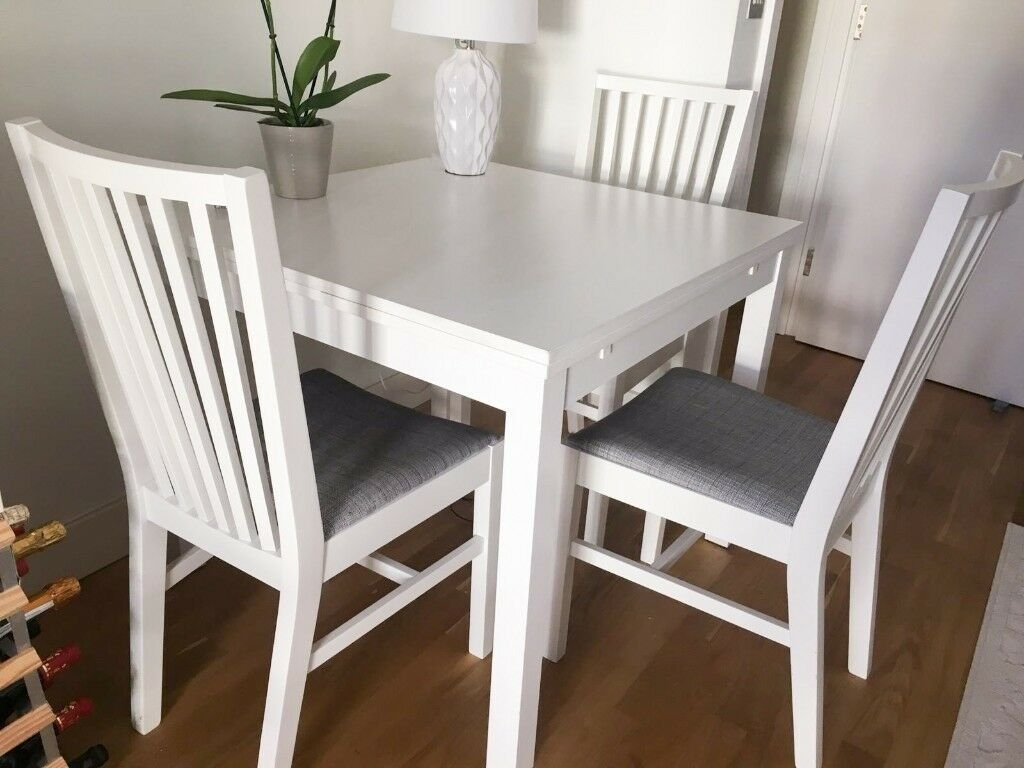 Ikea Ekedalen Extendable White Table  3 Dining Chairs  South East London Based  In London