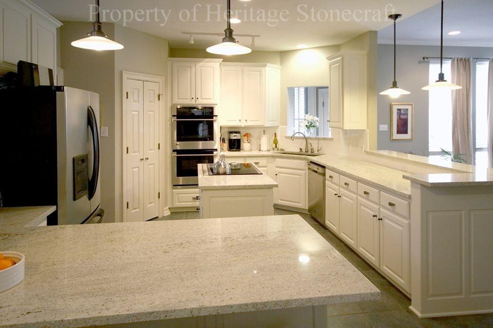 Kashmir White Granite With White Cabinets  White Granite Countertops White Cabinets With