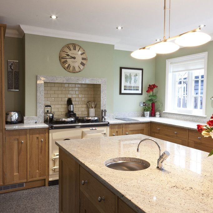 Kashmir White With Medium Cabinets And Light Green Walls With Images  Kitchen Diy Kitchen