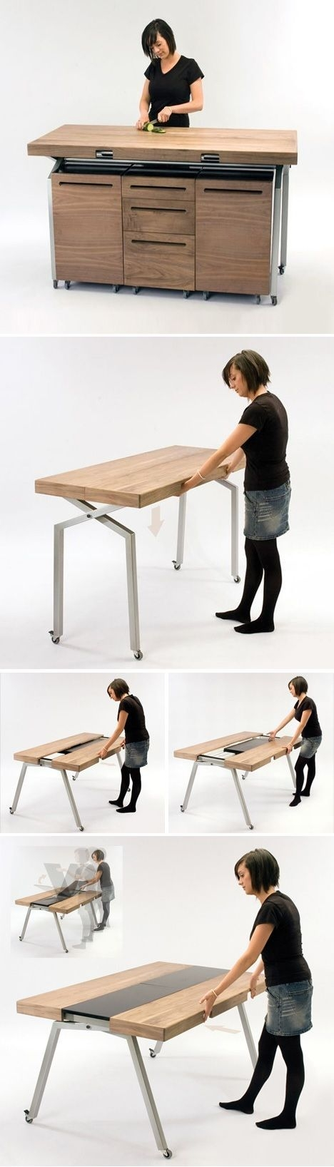 Kitchen Workspace Converts To Dining Table  Dornobexpandablediningtabledoublesas