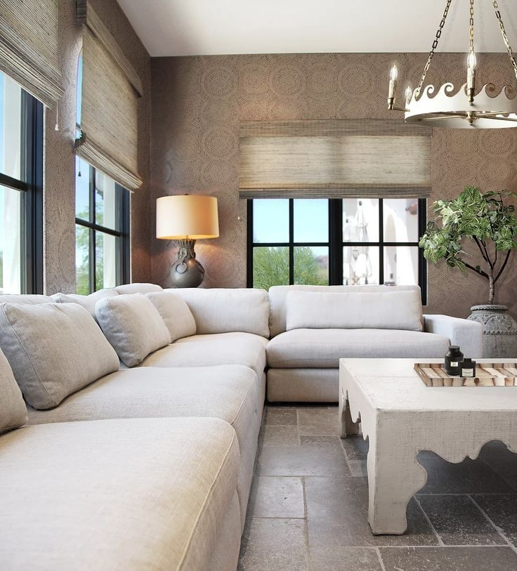 Large Sectional Sofa And Subtle Patterned Wallpaper Design  H Ryan Studio  Large Sectional