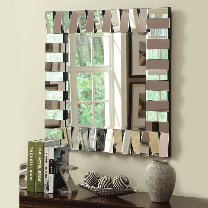 Latitude Run Square Silver Wall Mirror  Reviews  Wayfair