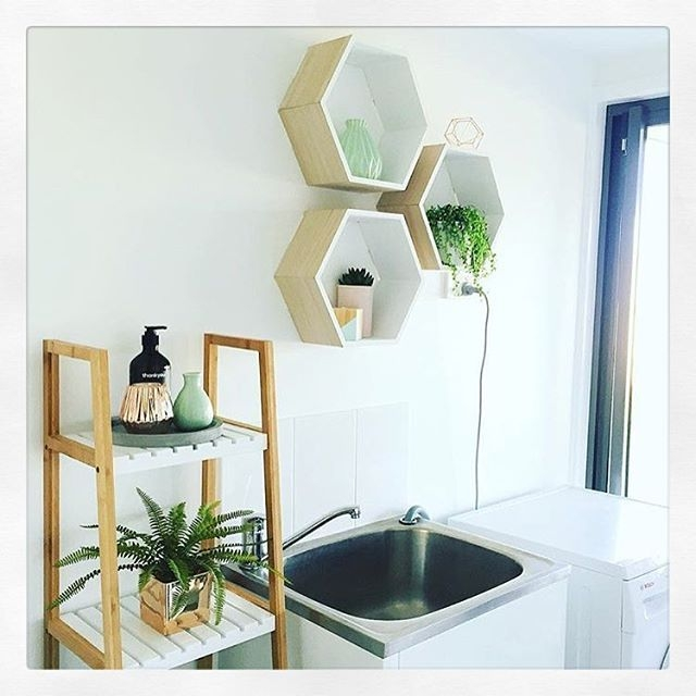 Laundry Inspo From Bfreestyle Featuring Kmart Hexagon Shelves And Ladder Shelving Just A