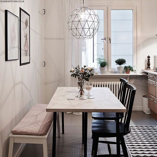 Love The Light Fixture And Seating Styles How To Style A Small Dining Space  Like The Bench