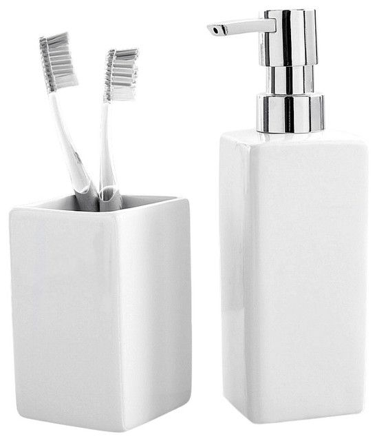 Luxury Porcelain 2Piece Bathroom Set White  Contemporary  Bathroom Accessory Sets  Other