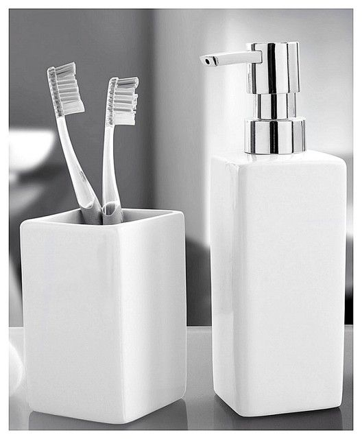 Luxury Porcelain Bathroom Accessories Set  2 Pieces White  Contemporary  Bathroom Accessory