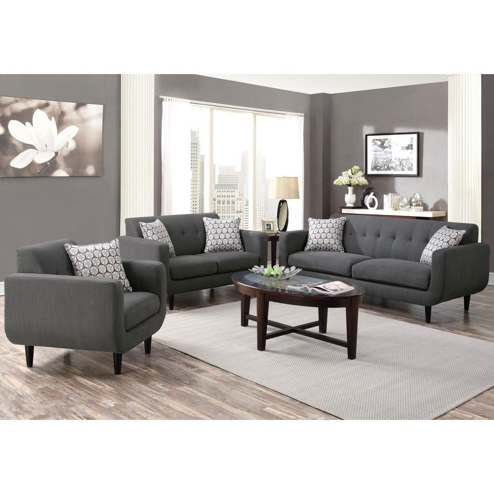 Midcentury Modern Design Grey Living Room Collection 1 Chair Gray  Living Room Grey Small