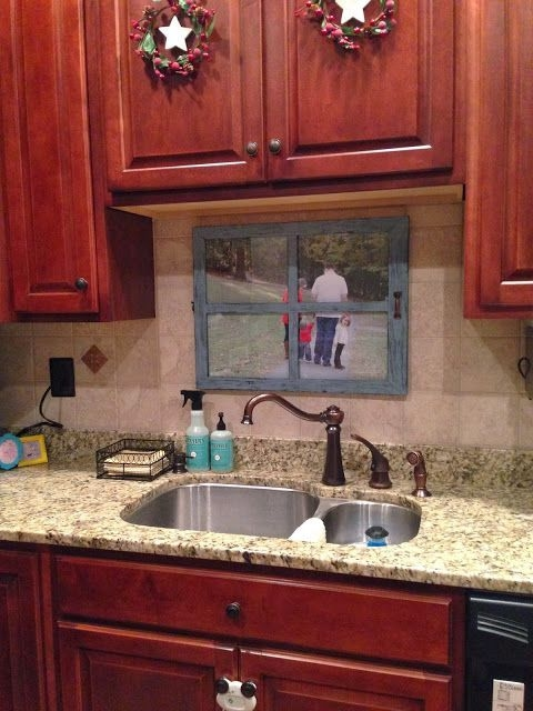 Middle Unit Townhouse  No Window Over The Sink So I Made My Own Window I Put A Photo Of Our