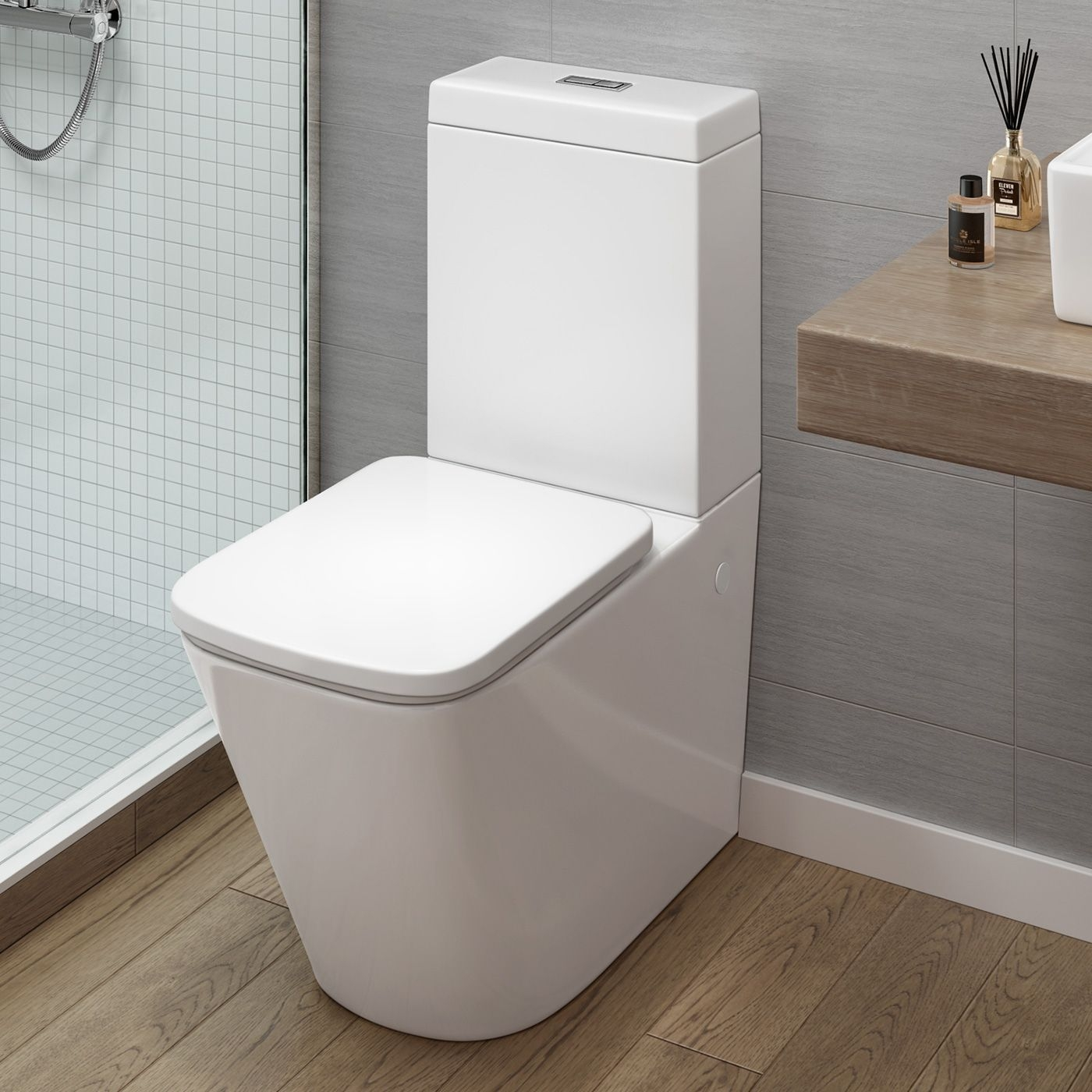Modern Close Coupled Toilet And Cistern  Florence Square Design  Bathempire  Bathroom Toilets