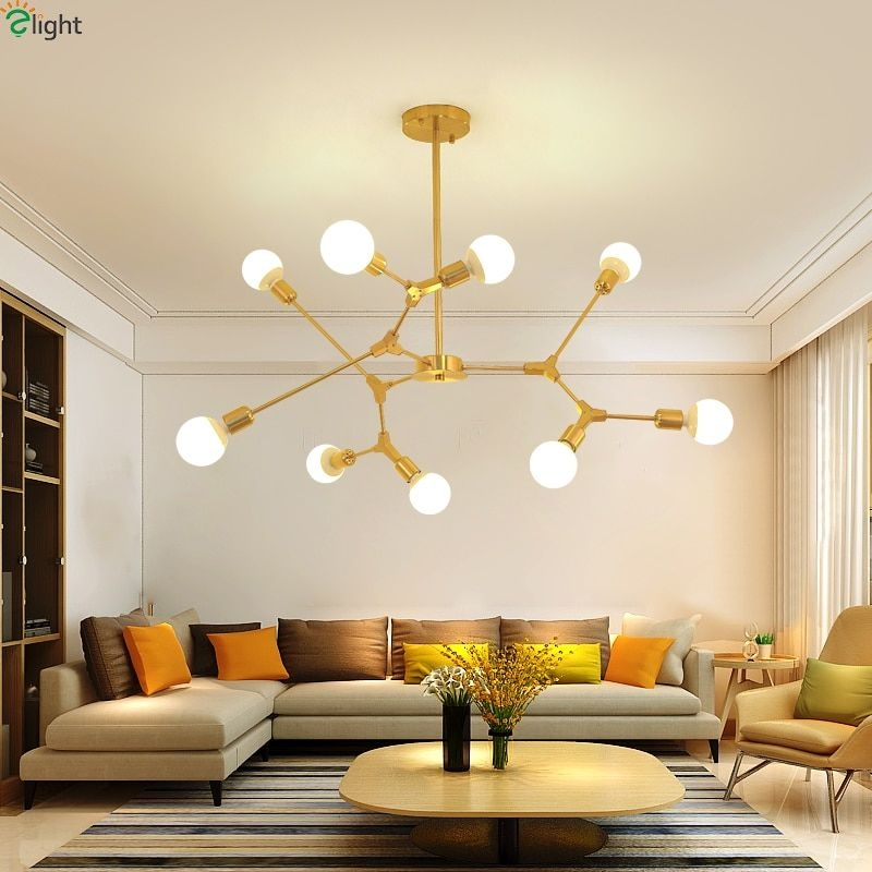 Modern Diy Led Chandeliers Lighting Goldblack Metal Living Room Led Pendant Chandelier Lights
