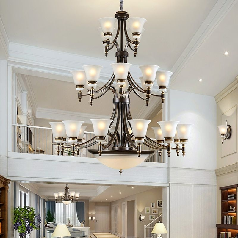Modern Led Chandelier Lighting Villa Living Room Hotel Hall Staircase Large Chandelier