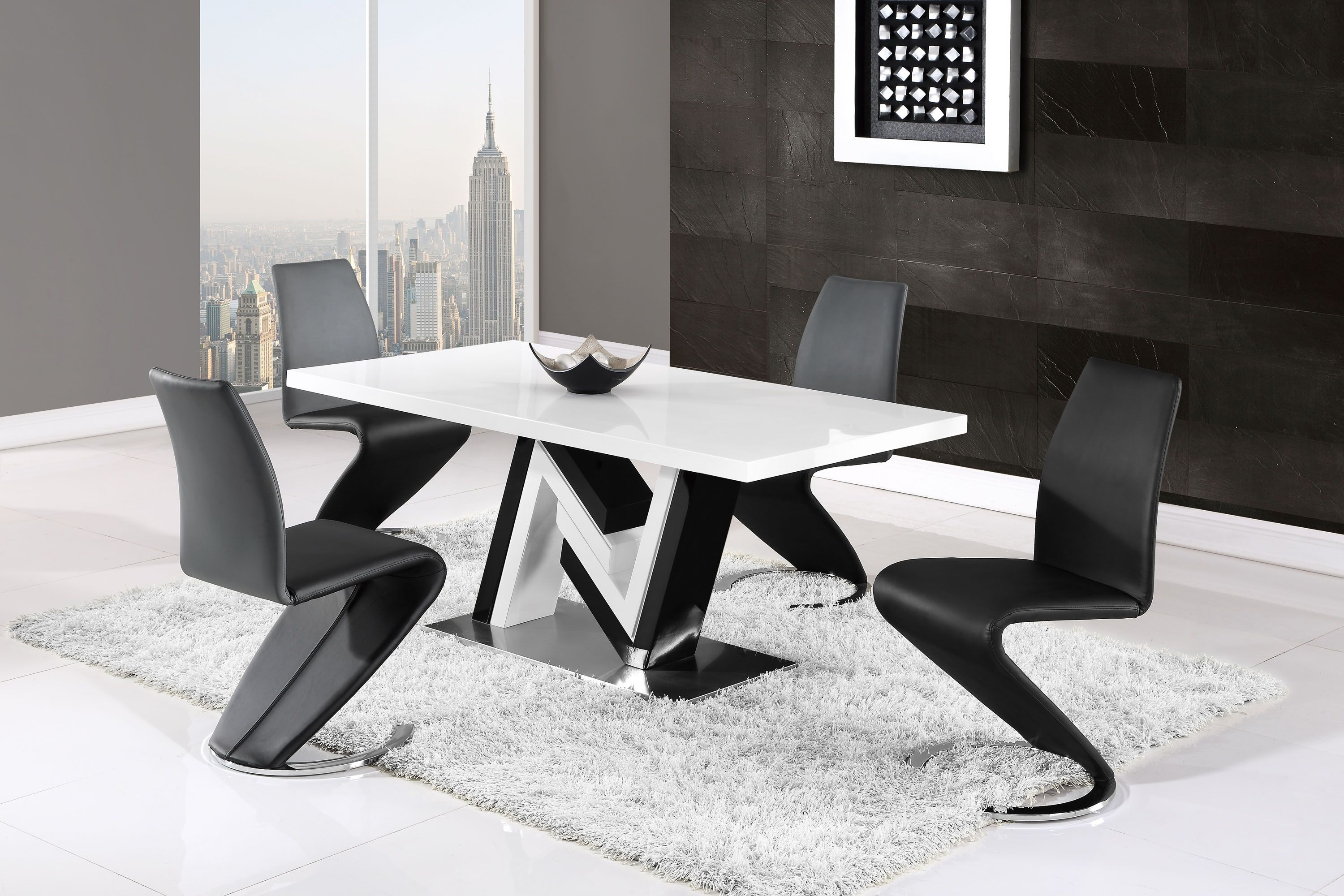Modern Monochrome Dining Table And Side Leather Chairs Charlotte North Carolina Gfd4163Dtd9002Dc