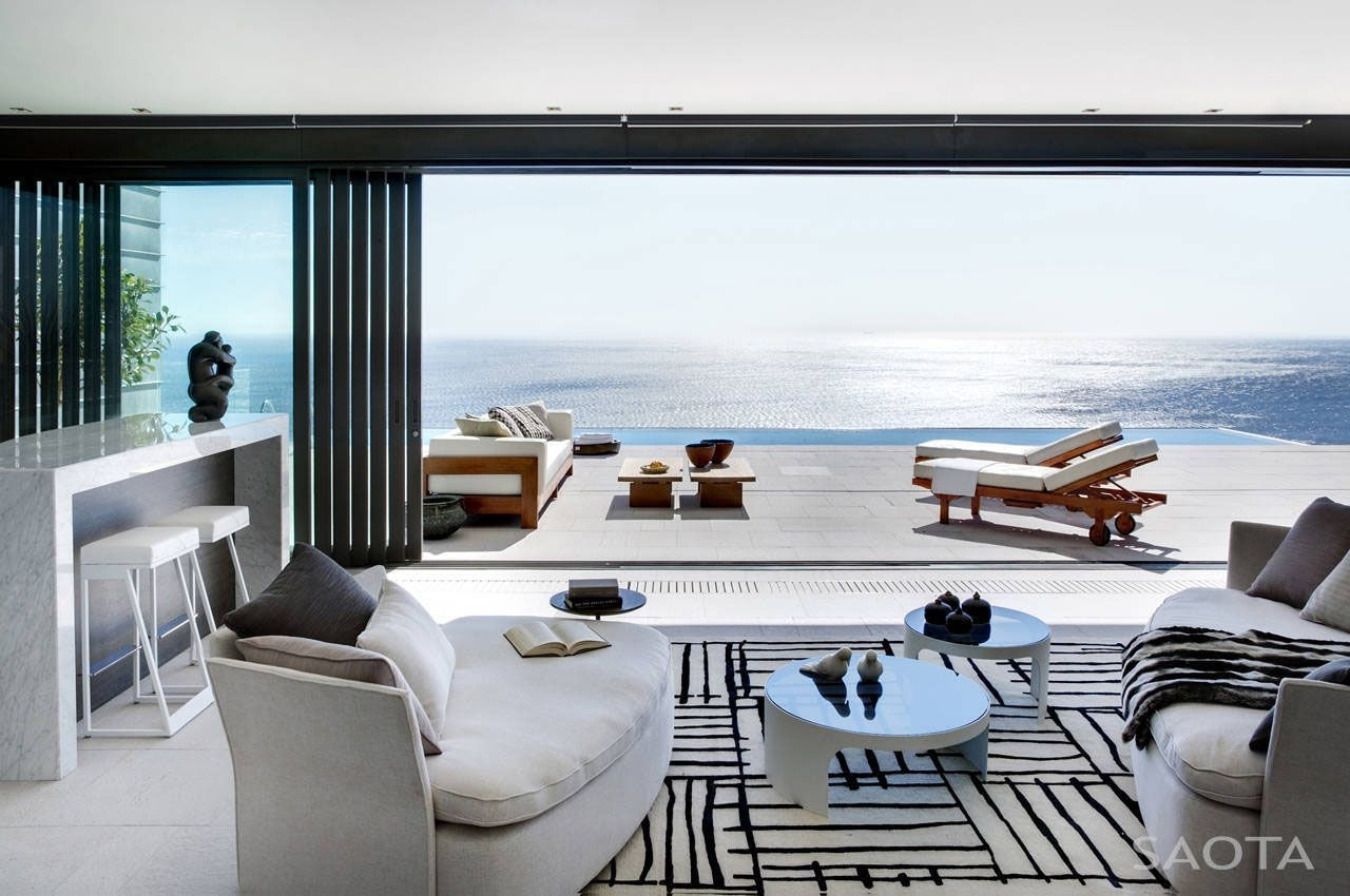 Modern Private Residence With Dramatic Living Room Overlooking The Ocean  Idesignarch