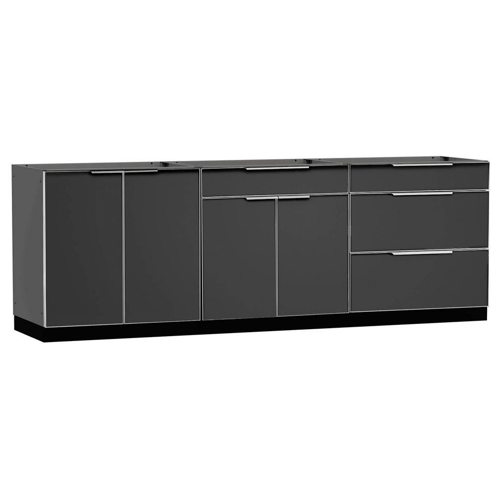 Newage Products Aluminum Slate 3Piece 120X360X24 In Outdoor Kitchen Cabinet Set Without