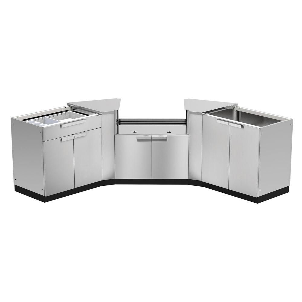 Newage Products Stainless Steel Classic 5Piece 86X36X86 In Outdoor Kitchen Cabinet Set Without