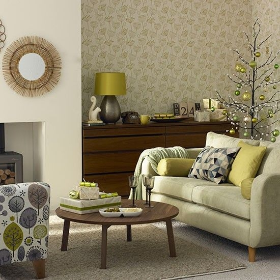 Olive Green Christmas Living Room  Decorating  Housetohomecouk