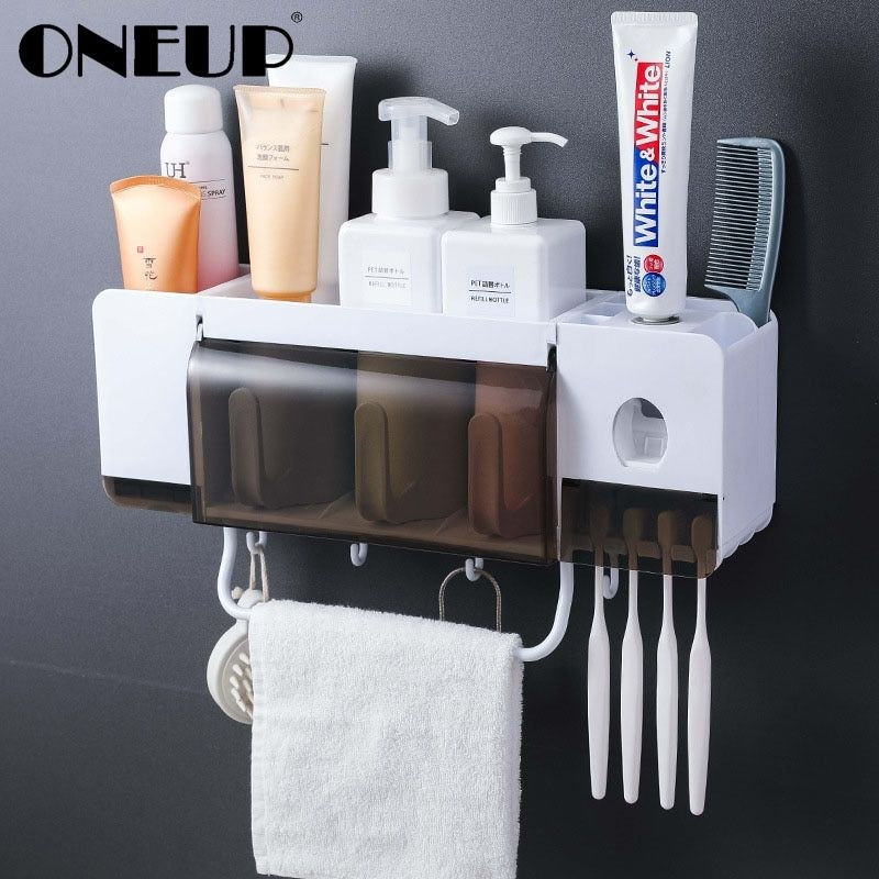 Oneup Toothbrush Holder Toothpaste Squeezer Dispenser Bathroom Accessories Sets 5 Pcs Bathroom