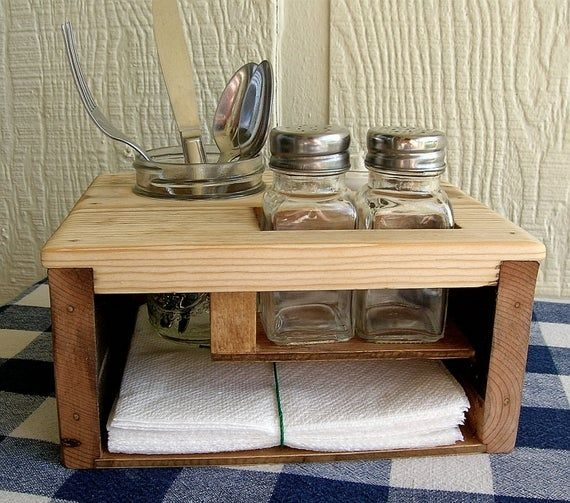 Picnic Table Caddy Kitchen Table Organizer Silverware Salt  Etsy