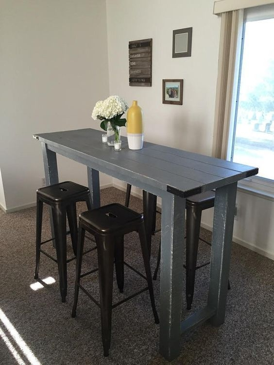 Rustic Bar Height Tablereimaginedwoodcraft On Etsy  Small Kitchen Tables Dining Room Small