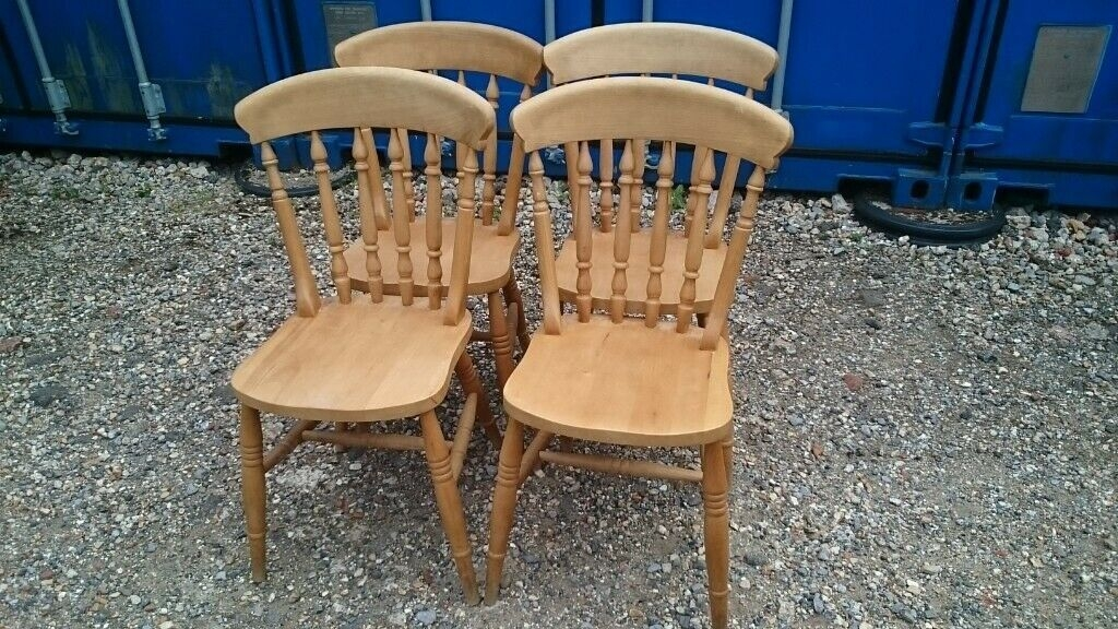 Set 4 Solid Wood Kitchen Chairs  In Southsea Hampshire  Gumtree
