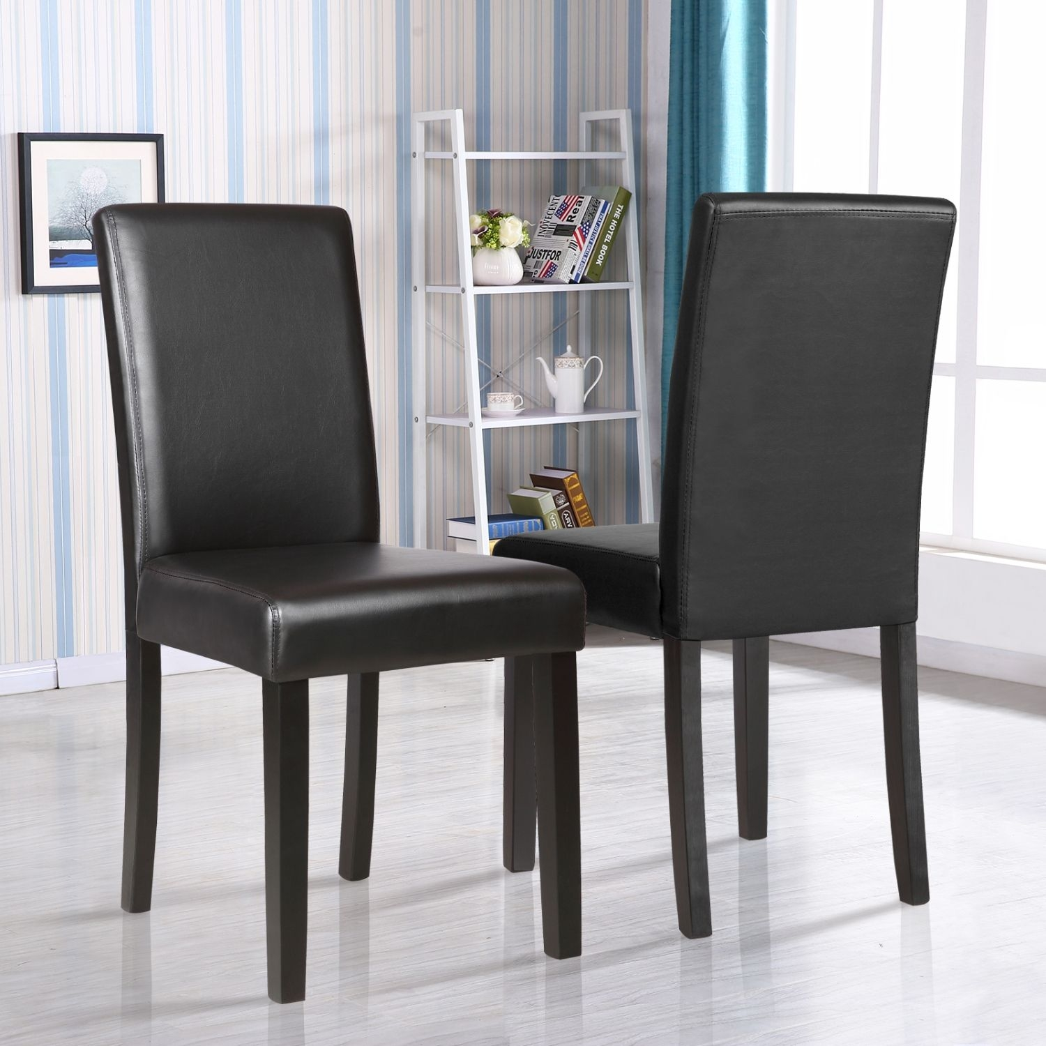 Set Of 2 Kitchen Dinette Dining Room Chair Elegant Design Black Leather Backrest 603658819385  Ebay