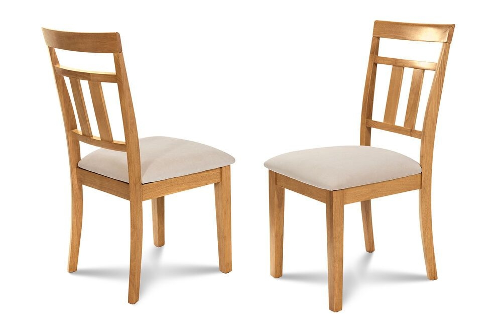 Set Of 4 Dinette Kitchen Dining Side Chairs With Softpadded Seat Oak Finish  Ebay