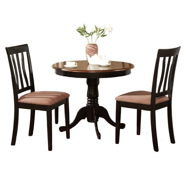 Shop Black Round Kitchen Table Plus 2 Dining Room Chairs 3Piece Dining Set  Free Shipping