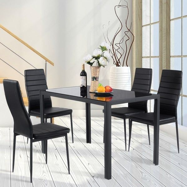 Shop Costway 5 Piece Kitchen Dining Set Glass Metal Table And 4 Chairs Breakfast Furniture