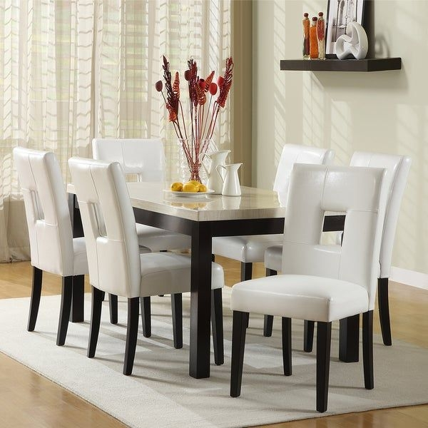 Shop Tribecca Home Mendoza White 7 Piece Modern Casual Dining Set  Overstock  6825721