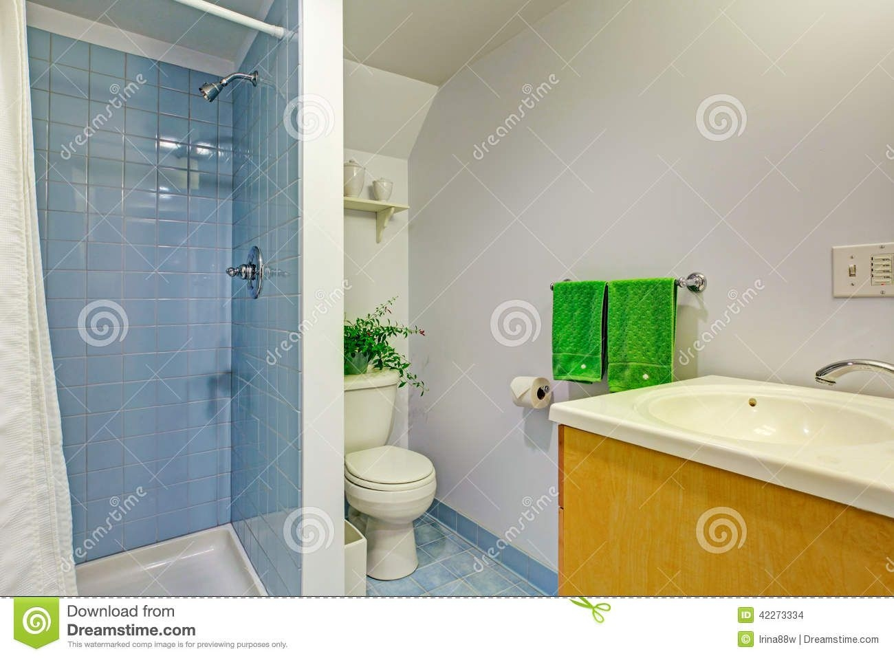 Simple Bathroom Interior In Light Blue Tones Stock Photo  Image Of Door Style 42273334