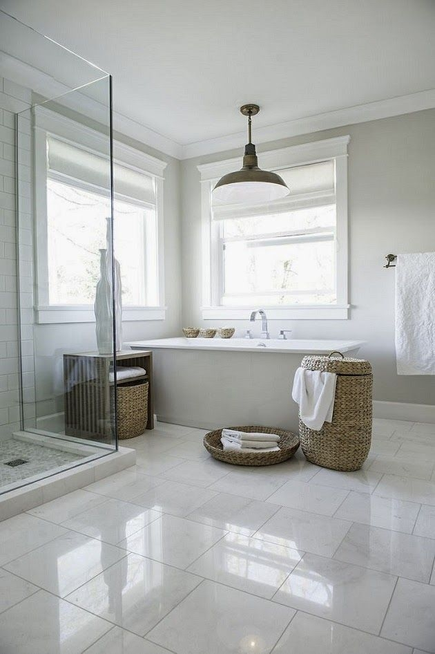 Simple  Uncomplicated  White Bathroom Tiles White Tile Floor White Bathroom Designs