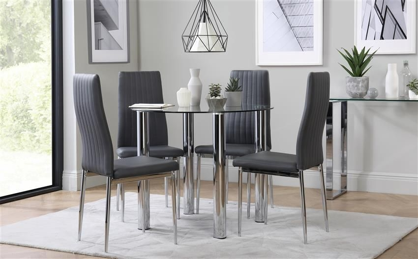 Solar Round Chrome And Glass Dining Table With 4 Leon Grey Chairs Only £24999  Furniture Choice
