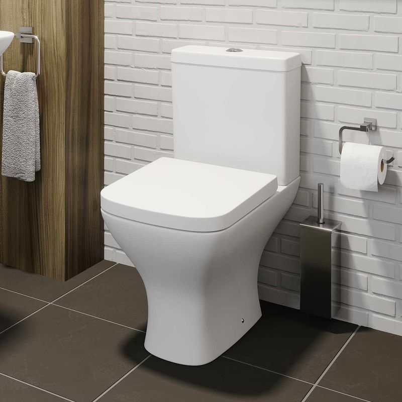 Square Close Coupled Bathroom Toilet Modern Soft Close Seat  San600Wc