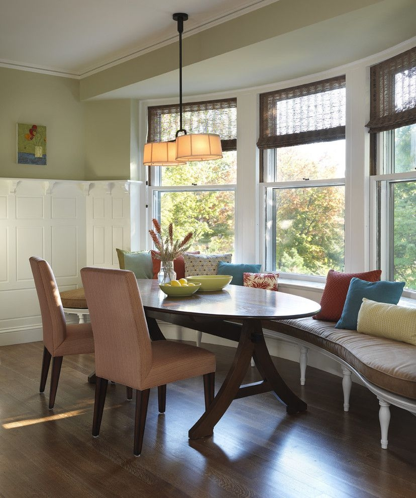 Superb Banquette Bench In Kitchen Traditional With Bamboo Furniture Next To Oval Dining Table