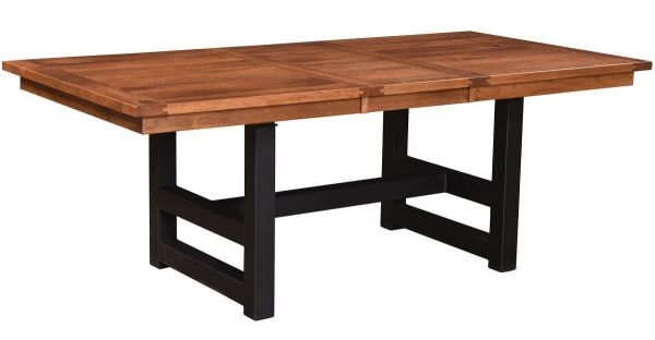 Tazewell Expandable Table With Metal Base  Countryside Amish Furniture