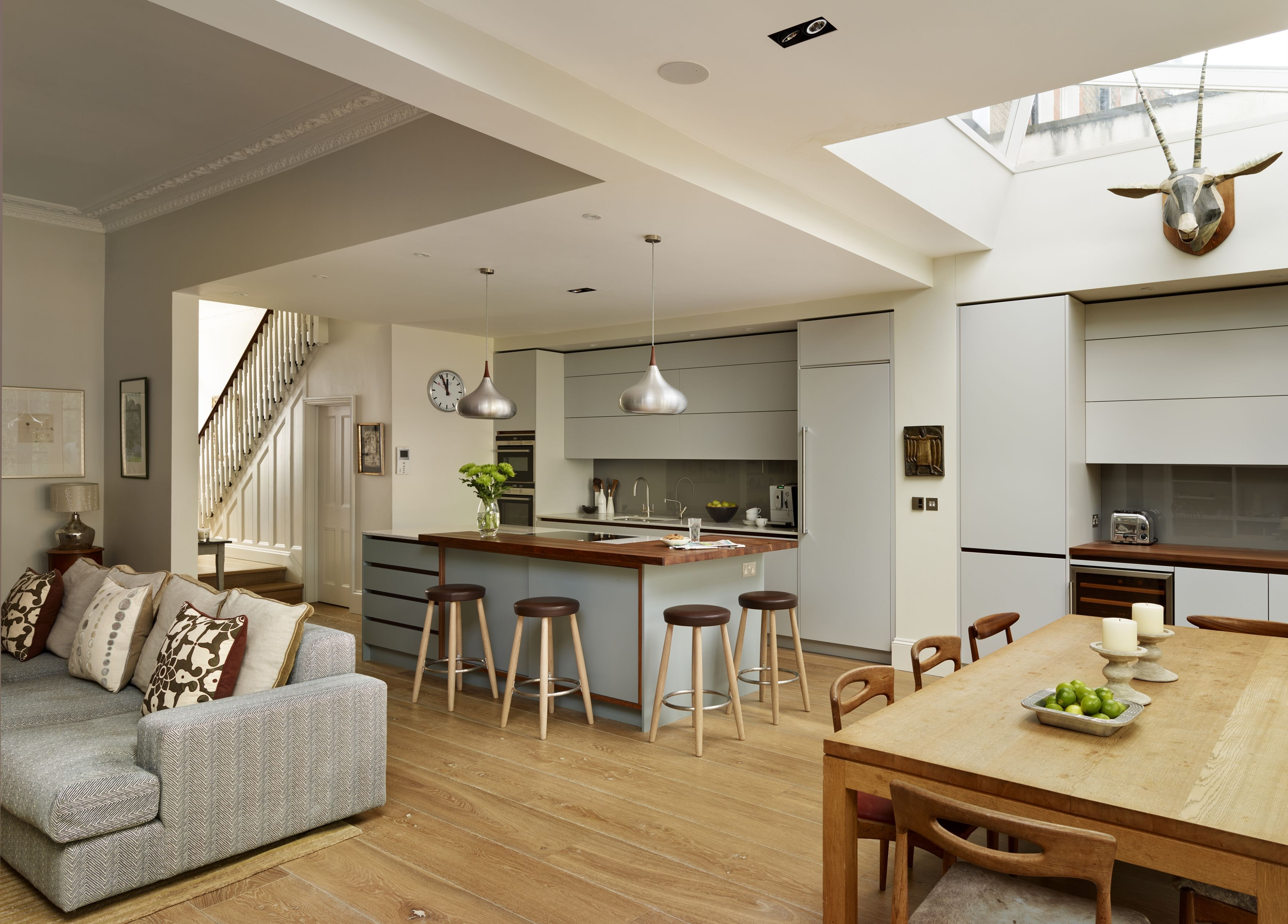 This Neutral Bespoke Roundhouse Kitchen Features Handleless Draws And A Stylis…  Open Plan