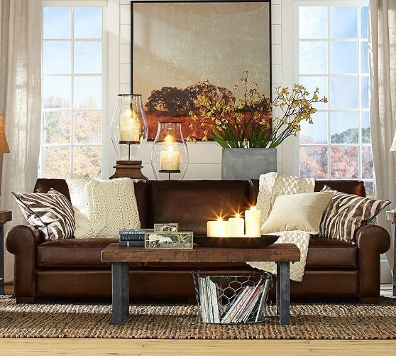Turner Leather Sofa Pottery Barn  Google Search  Leather Sofa Living Room Brown Living Room