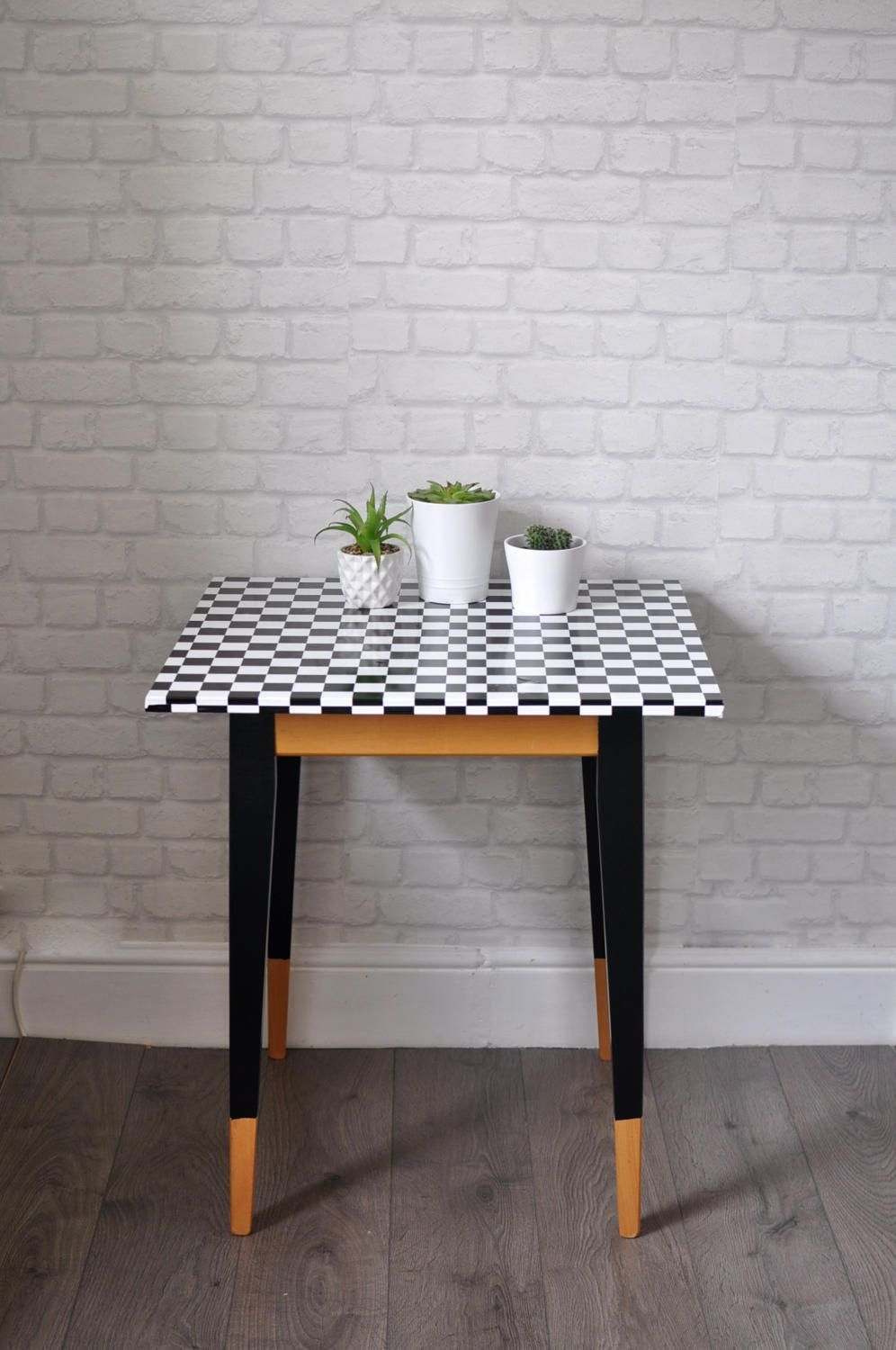Upcycled Vintage Small Kitchen Table Side Table In Black And White Checkthriftysretro On