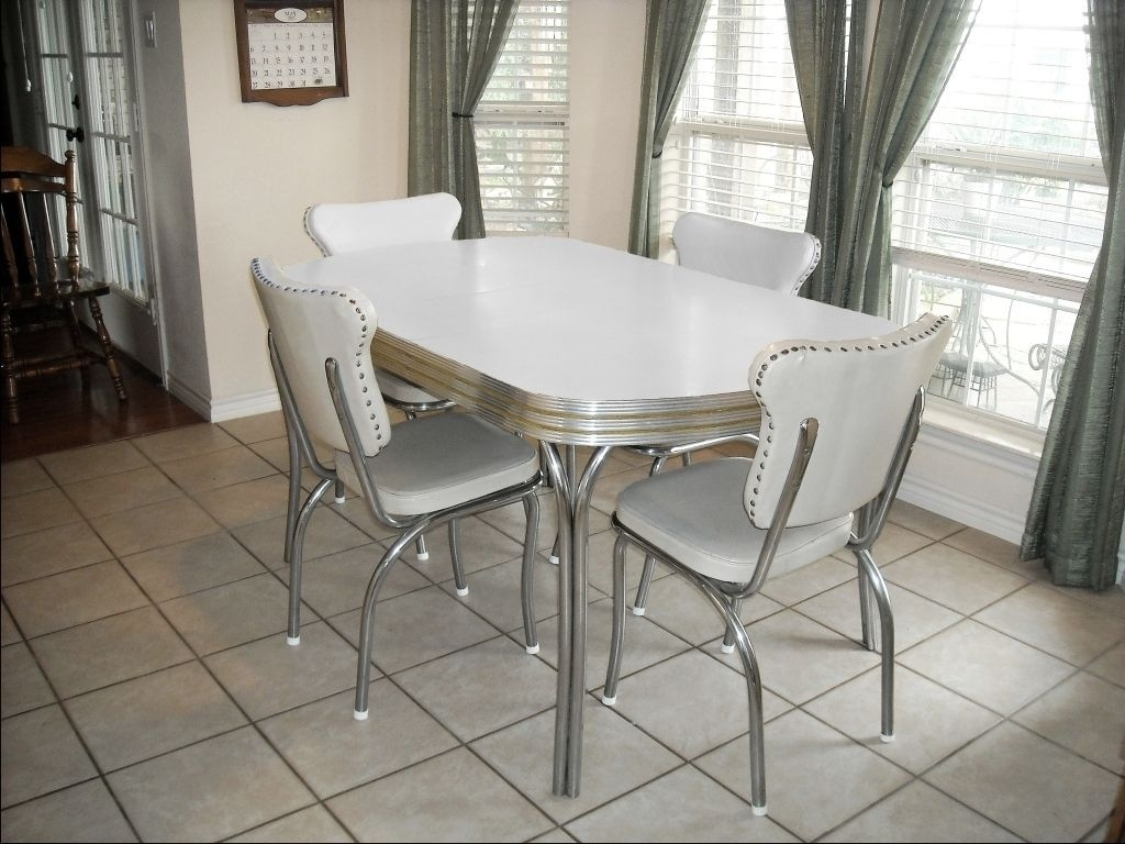 Vintage Retro 1950'S White Kitchen Or Dining Room Table With 4 Chairs And Leaf  Retro Dining