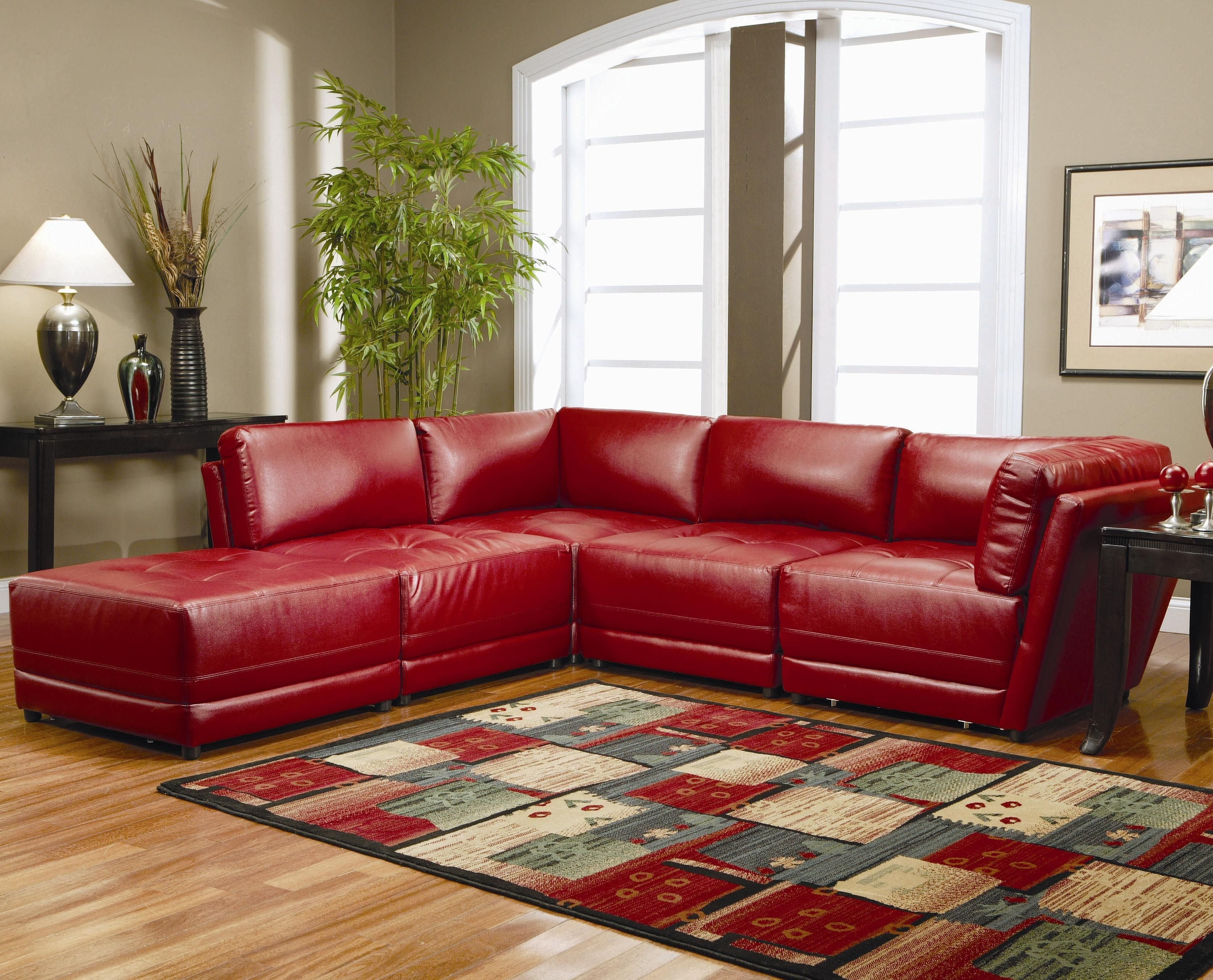 Warm Red Leather Sectional L Shaped Sofa Design Ideas For Living Room Furniture With Low Style