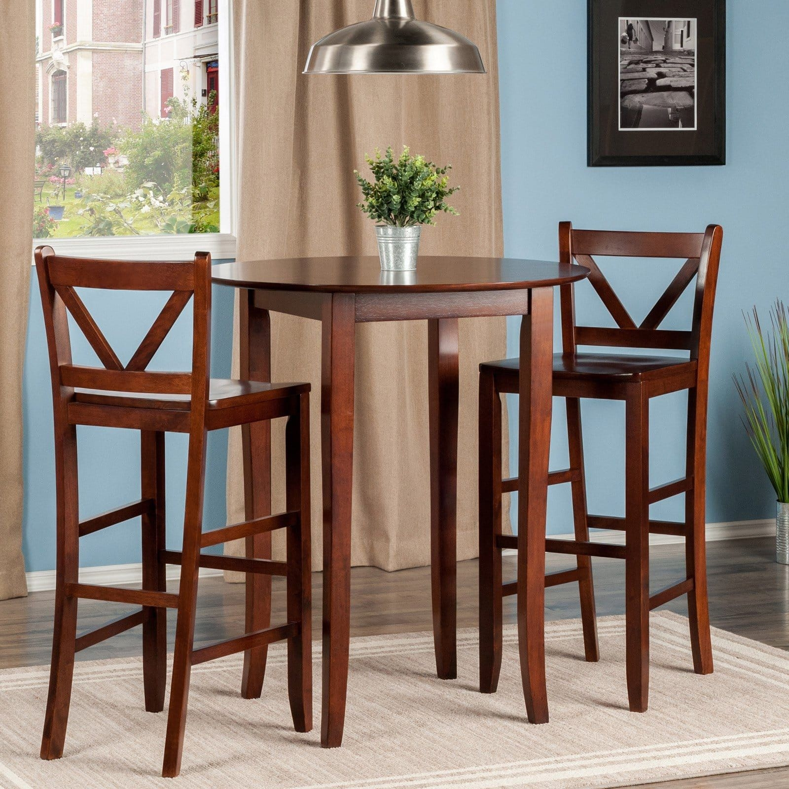 Winsome Trading Fiona 3 Piece Counter Height Round Dining Table Set  Pub Tables  Bistro Sets